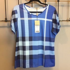 NWT $155 Burberry London Check Tee S/S Top XXL